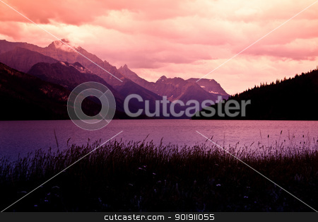 Mountain Sunset stock photo, Mountain sunset on the lake by Rachel Duchesne