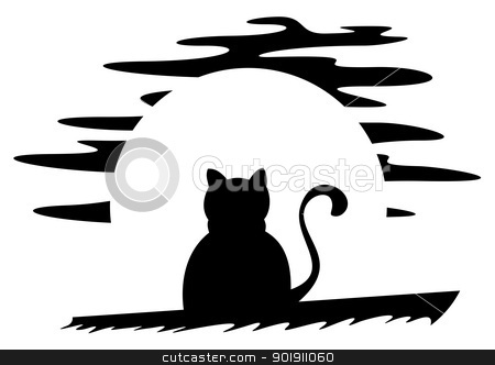 Cat on roof stock vector clipart, Black cat at night with moon in background by Oxygen64