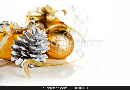 Christmas stock photo, Christmas gift box with decoration on white background by p.studio66