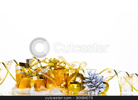 Christmas picture stock photo, Christmas gift box with decoration on white background by p.studio66