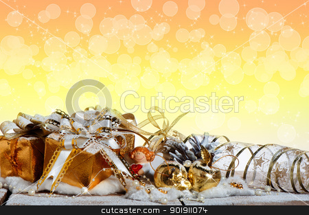 Christmas gift box stock photo, Christmas gift box with christmas balls by p.studio66