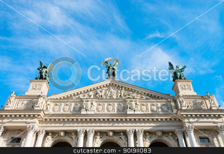 Lviv Theatre of Opera and Ballet, Ukraine stock photo, Lviv theatre of opera and ballet exterior. The central sculpture is Victory, left one is Music, right figure is Comedy and Drama. by Iryna Rasko