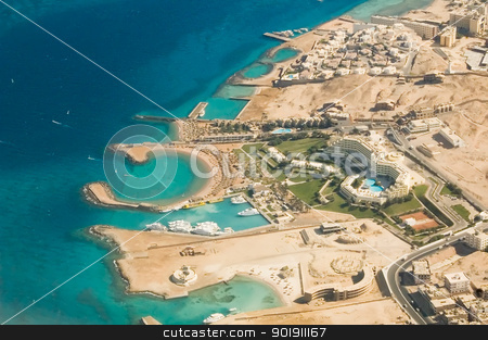 Hurghada Coast stock photo, Hotels with Red Sea beaches in Hurghada by Aikon