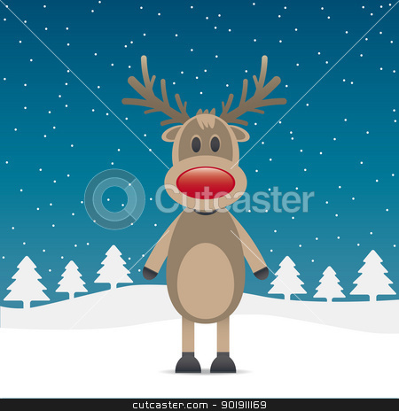rudolph reindeer with red nose stock vector clipart, rudolph reindeer red nose snow falls night by d3images
