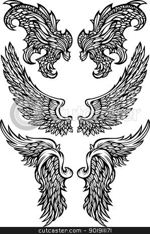 Angel Wings & Demon Wings Vector illustrations stock vector clipart, Angel & Demon Wings Ornate Vector Images by chromaco