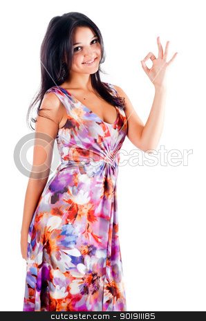 Woman with ok gesture stock photo, Portrait of young beautiful woman with ok gesture by Aikon