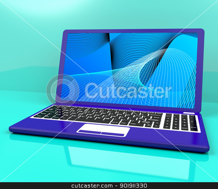 Computer On Desk With Spiral Pattern stock photo, Computer On A Desk With Spiral Pattern by stuartmiles