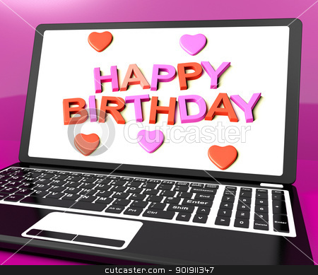 Happy Birthday On Laptop Computer Screen Showing Online Greeting stock photo, Happy Birthday On Laptop Computer Screen Shows Online Greeting by stuartmiles