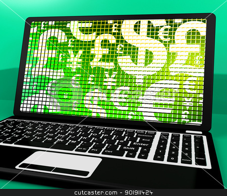 Currency Symbols On Laptop Showing Exchange Rate And Finance stock photo, Currency Symbols On Laptop Shows Exchange Rate And Finance by stuartmiles