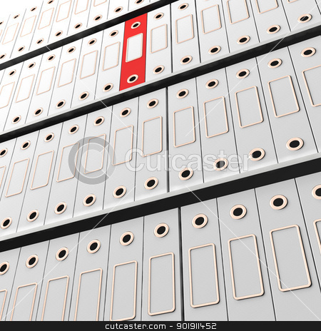 Red File Amongst White For Getting Office Organized stock photo, Red File Among White For Getting Office Organized by stuartmiles