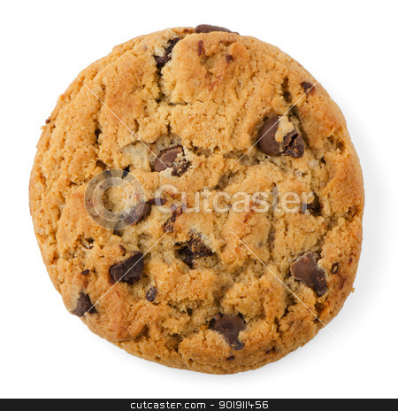 Chocolate Chip Cookie stock photo, Chocolate Chip Cookie isolated on White background. by Homydesign