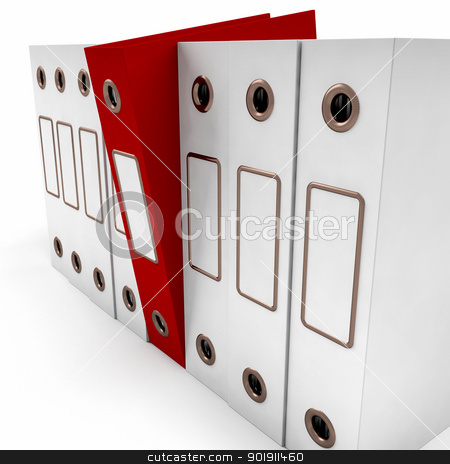 Red File Amongst White For Getting Organized stock photo, Red File Among White For Getting Organized by stuartmiles