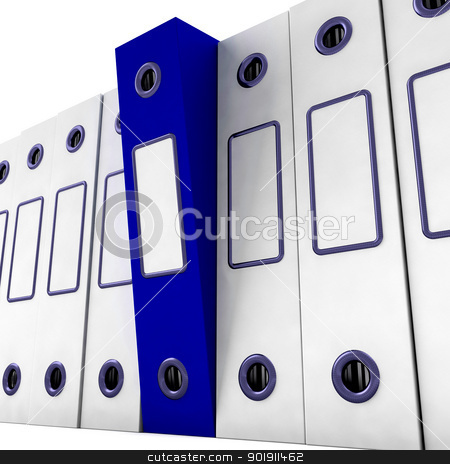 Blue File Amongst White For Getting Organized stock photo, Blue File Among White For Getting Organized by stuartmiles