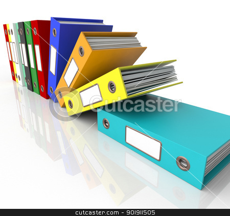 Row Of Falling Files For Getting Organized stock photo, Row Of Falling Files For Getting Office Organized  by stuartmiles