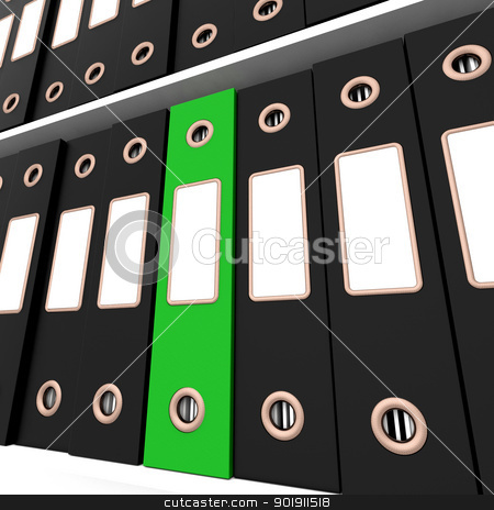 Green File Amongst Black Ones For Getting Office Organized stock photo, Green File Amongst Black Ones For Getting The Office Organized by stuartmiles