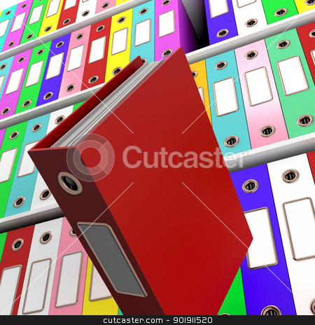 Shelves Of Files With One Falling For Getting The Office Organiz stock photo, Shelves Of Files With One Falling For Getting Office Organized by stuartmiles