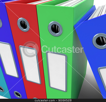 Row Of Colorful Files To Get The Office Organised stock photo, Row Of Colorful Files To Get Office Organised by stuartmiles