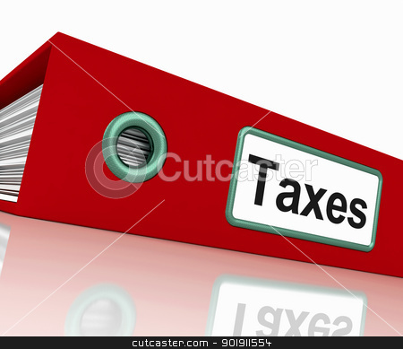 Taxes File Contains Taxation Reports And Documents stock photo, Taxes File Containing Taxation Reports And Documents by stuartmiles