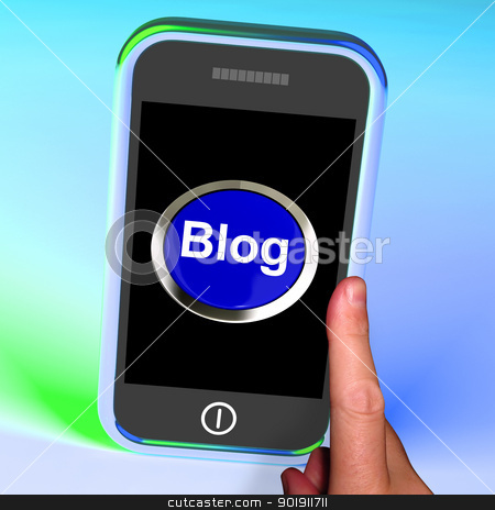 Blog Button On Mobile Shows Blogger Or Blogging Website stock photo, Blog Button On Mobile Showing Blogger Or Blogging Website by stuartmiles