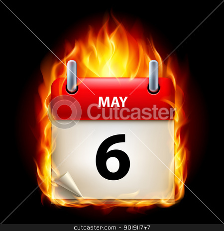 Burning calendar stock photo, Sixth May in Calendar. Burning Icon on black background by dvarg