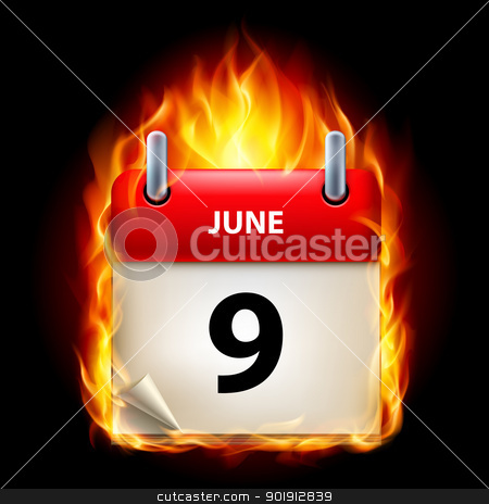 Burning calendar stock photo, Ninth June in Calendar. Burning Icon on black background by dvarg