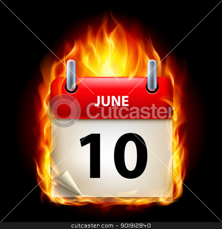 Burning calendar stock photo, Tenth June in Calendar. Burning Icon on black background by dvarg