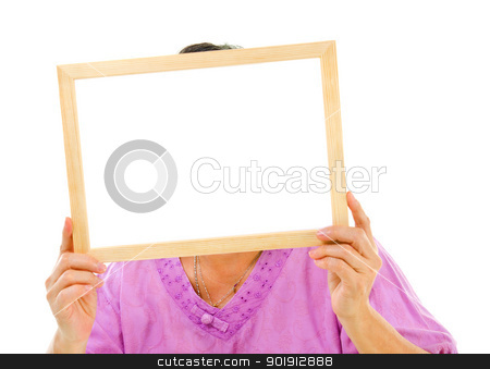 Blank board stock photo, Asian senior woman holding a blank board, isolated on white background by szefei