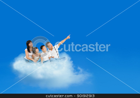 Flying clouds stock photo, Happy Asian family sitting on cloud and pointing over blue sky by szefei