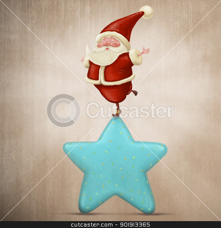 Equilibrist Santa Claus stock photo, Santa Claus equilibrist on a sweet candy star by Giordano Aita