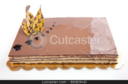 Chocolate Cack stock photo, Chocolate glossy light cake on white stuffed with nuts by amgadedwardart