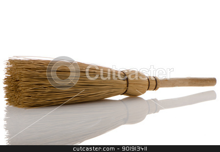 Whisk broom stock photo, Whisk broom with reflection isolated on white background by Homydesign
