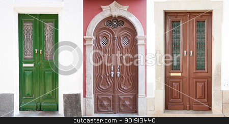 Old doors stock photo, Set of 3 old doors from Portugal. by Homydesign 