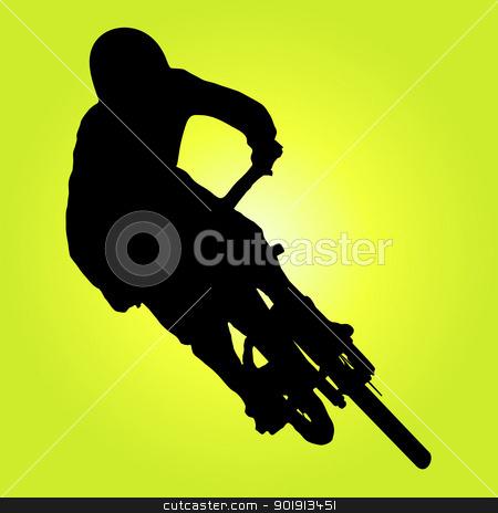 Mountain biker stock photo, Mountain biker turning silhouette illustration. by Homydesign