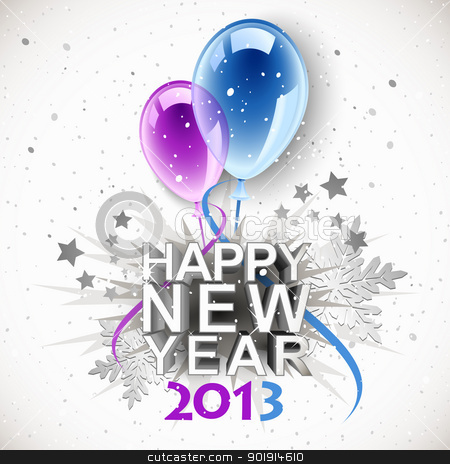 Vintage New Year 2013 stock vector clipart, Vintage New Year 2013 with balloons by Laurent Renault