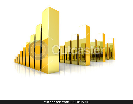 Gold charts stock photo, Comparative gold charts. 3D rendered Illustration. Isolated on white.  by Michael Osterrieder