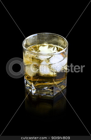 Whiskey in glass stock photo, Whiskey in glass with ice cubes by Grafvision