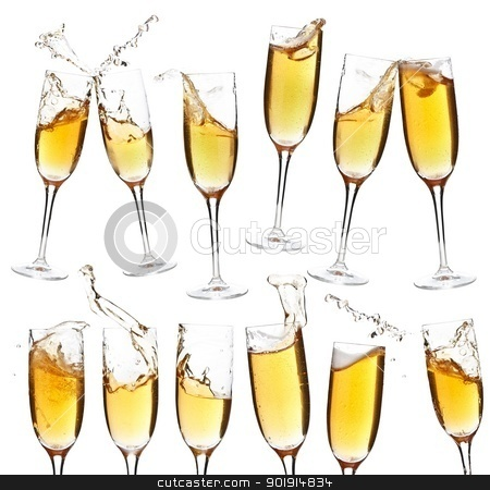Collection of champagne glasses stock photo, Collection of champagne glasses whit splash on white background by Grafvision