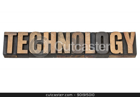 technology word in wood type stock photo, technology - isolated word in vintage letterpress wood type by Marek Uliasz