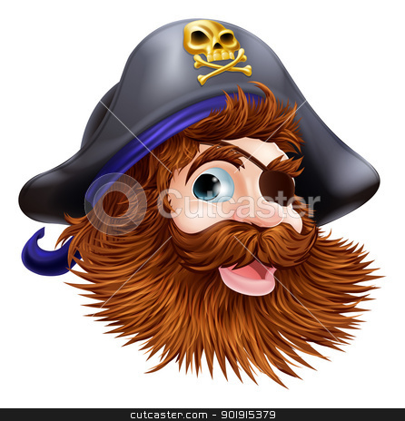 Pirate face illustration stock vector clipart, Illustration of a happy smiling pirate face with an eye patch and skull and crossed bones on his pirate hat by Christos Georghiou