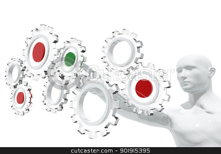 Person selecting gear icons stock photo, Person selecting gear icons by genialbaron