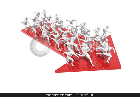 Group of people running in one direction stock photo, Group of people running in one direction by genialbaron