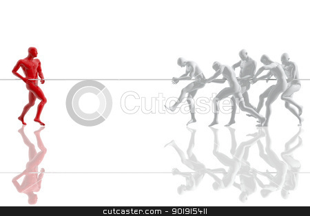 Competition between a group and a person stock photo, Competition between a group and a person by genialbaron