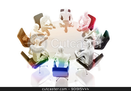 Group of people gathered around the table stock photo, Group of people gathered around the table by genialbaron