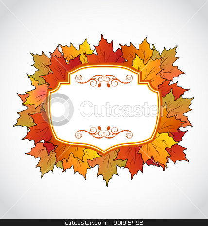 Autumnal floral card with colorful maple leaves stock vector clipart, Illustration autumnal floral card with colorful maple leaves - vector by -=Mad Dog=-
