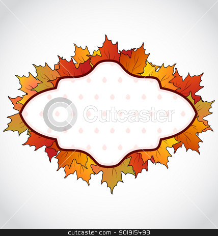 Autumnal card with colorful maple leaves stock vector clipart, Illustration autumnal card with colorful maple leaves - vector by -=Mad Dog=-