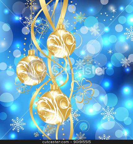 Christmas holiday background with golden balls stock vector clipart, Illustration Christmas holiday background with golden balls - vector by -=Mad Dog=-