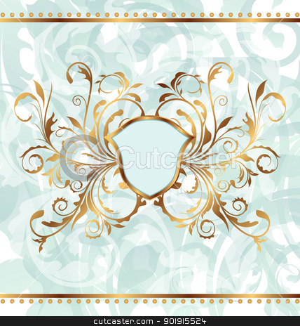 Royal background with golden ornate frame and heraldic shield stock vector clipart, Illustration royal background with golden ornate frame and heraldic shield - vector by -=Mad Dog=-
