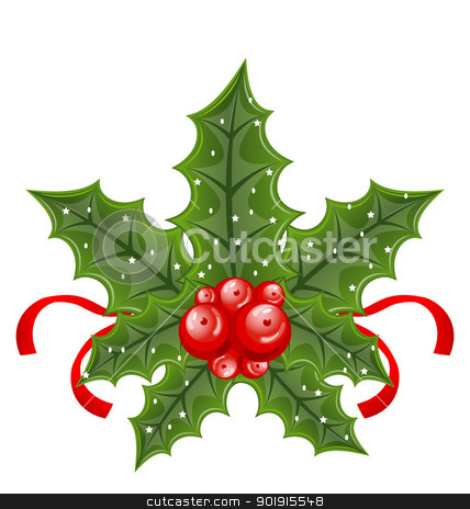 Christmas holly berry branches and ribbon isolated on white back stock vector clipart, Illustration Christmas holly berry branches and ribbon isolated on white background - vector by -=Mad Dog=-