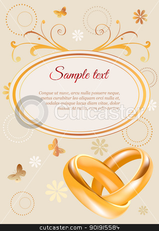 Wedding invitation stock vector clipart, Wedding invitation width 3D golden rings and flowers by monicaodo