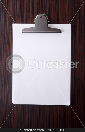 Stack of blank paper stock photo, Stack of blank white paper with clip by eskaylim